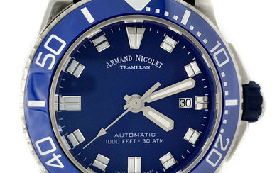 Armand Nicolet - JS9 Diver Automatic Blue Dial Silicon Strap WR 300M Swiss Made- A480AGU-BU-GG4710U - Men - NEW