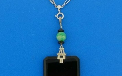 Art Deco BLACK ONYX JADE WHITE GOLD PENDANT on PLATINUM
