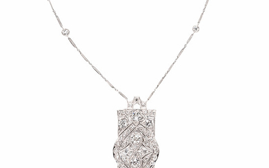 Art Deco Platinum and Diamond Pendant