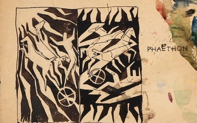 """Axel Salto: """"Phaeton"""", circa 1940's. Unsigned. Indian ink on paper. Sheet size 26×36 cm."""