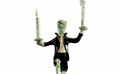 BILL HUEBBE 1995 Dancing Frog 2-Light Candelabra