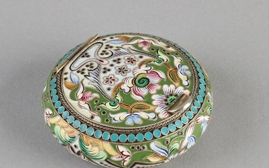 Beautiful round silver gilded cover box, 84 zolotniks