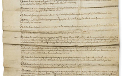 Berkshire.- Elizabeth I. Royal Letters Patent granted by Elizabeth I being an inspeximus of a survey of the manor of Radley, lately in the possession of the monastery of Abingdon, made in the first year of the reign of Edward VI, manuscript in Latin...