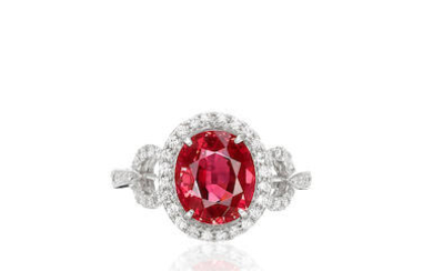 Burmese Unheated Spinel and Diamond Ring with GRS