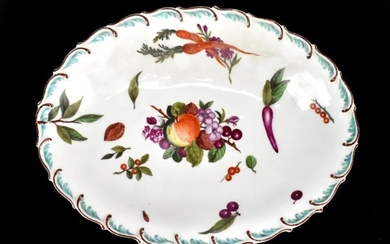 CHELSEA; a circa 1760 oval shaped shallow bowl painted...