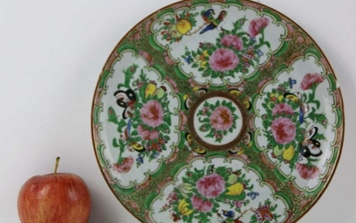 CHINESE ANTIQUE FINE ROSE MEDALLION CABINET PLATE