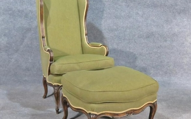 COUNTRY FRENCH STYLE WINGBACK CHAIR & OTTOMAN