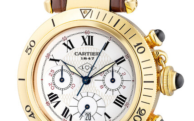Cartier, Ref. 0960 1 A fine and attractive yellow gold chronograph wristwatch with date, made for the Cartier 150th anniversary
