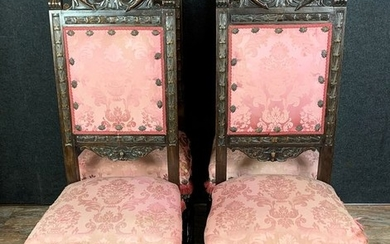 Chair, Series of the four chairs (4) - Renaissance Style - Solid Oak - 19th century