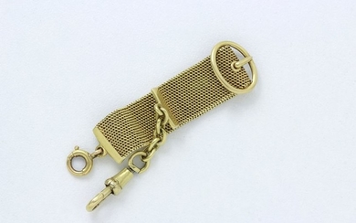 Chatelaine element in 750 thousandths gold, braided stitch...