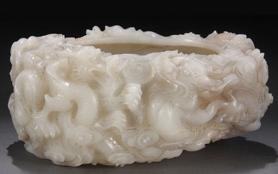Chinese Carved White Jade Dragon Brush-washer