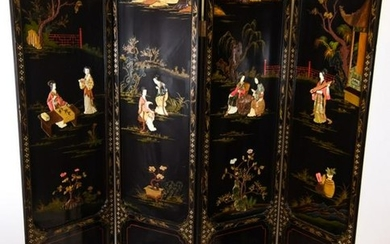 Chinese Lacquer & Gilt Decorated Room Divider