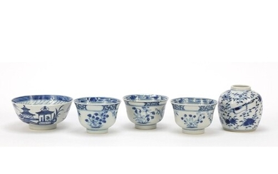 Chinese blue and white porcelain including jar hand painted ...