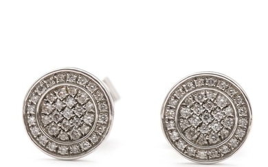 "Christine Hvelplund: ""Globe"". A pair of diamond earrings set with numerous brilliant-cut diamonds, mounted in 18k white gold. Diam. 8 mm. (2)"