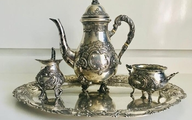 Coffee service (4) - .800 silver - Germany - Early 20th century