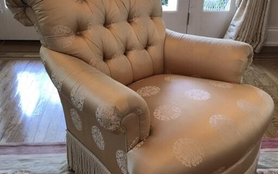 Custom Upholstered Empire Tufted Gold Silk Chair