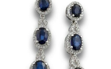 DIAMOND AND SAPPHIRE GOLD EARRINGS