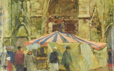 Denny (20th Century) - Oil painting - Standing figures...