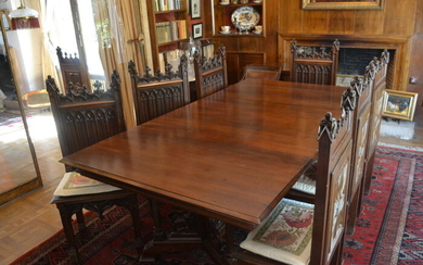 Dining room chair, Dining table (9) - Gothic Style - Mahogany, Walnut - Mid 19th century