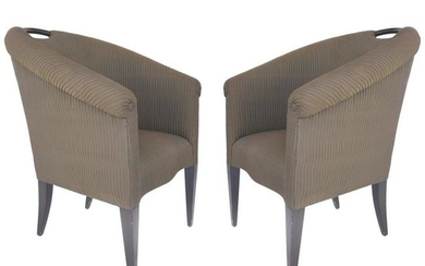 Donghia Upholstered Club Chairs with Wood Handles
