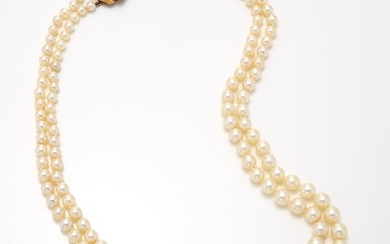 Double Strand Cultured Pearl Necklace with Gold and Cultured Pearl Flower Clasp