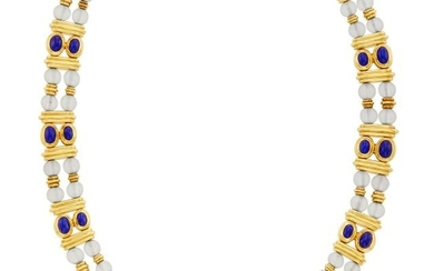 Double Strand Gold, Frosted Rock Crystal Bead and Lapis Necklace, Boucheron, France
