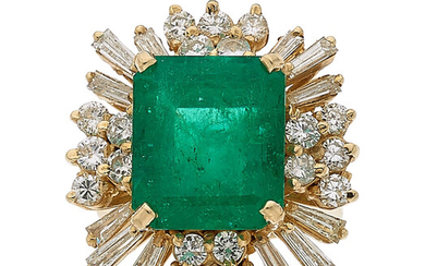Emerald, Diamond, Gold Ring The ring features an emerald-cut...