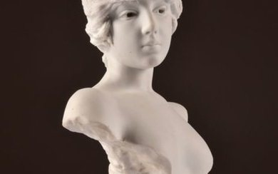 """Emmanuel Villanis (French, 1858-1914)- Impressive and rare biscuit porcelain bust - Young woman """"TANAGRA"""" - 40 cm (1)"""