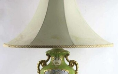 """FINE 32"""" FRENCH HAND PAINTED PORCELAIN LAMP"""