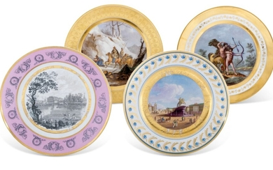 FOUR PORCELAIN PLATES, RUSSIA AND FRANCE, 19TH CENTURY