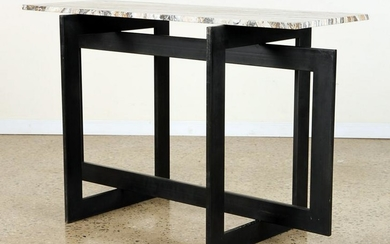 FRENCH IRON MARBLE TOP CONSOLE TABLE