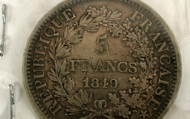 FRENCH, STERLING SILVER, 5 FRANC COIN, 1849A
