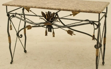 FRENCH STYLE STEEL AND BRASS MARBLE TOP CONSOLE TABLE