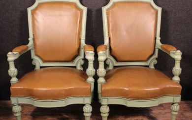 Fauteuil à la reine (2) - Napoleon III - Leather, Lacquered wood - Mid 19th century