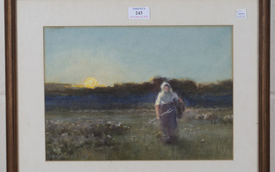 Ferdinand E. Gröne - Worker returning Home after Her Toil, watercolour with gouache, signed, 24