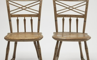 Fine Pair Paint Decorated Windsor Side Chairs