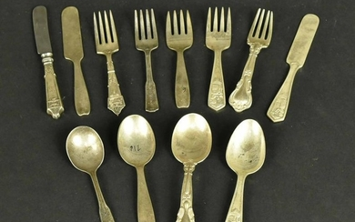Five Sets of Silver Children's Flatware Services