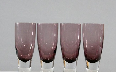 Four [4[ Amethyst Goblets Clear Weighted Base