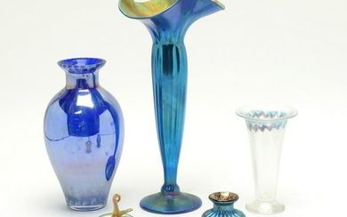 Four Studio Art Glass Vases and Glass Apple.