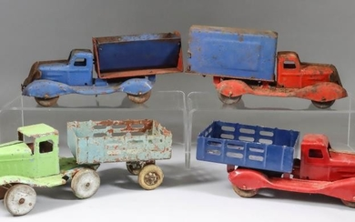Four Tin Plate Truck Models, Circa 1940's, including covered...