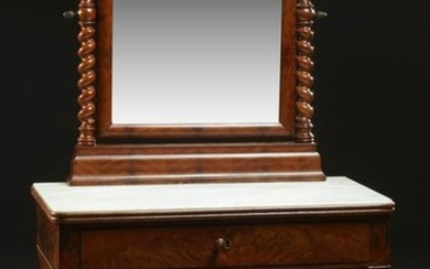 French Carved Mahogany Marble Top Dressing Table, c.