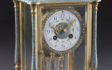 Gilt and champleve enamel mantle clock