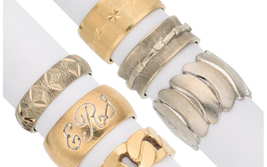 Gold Rings The lot includes three 14k white and...