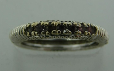 Gorgeous PINK SAPPHIRE WHITE GOLD BAND RING Stackable