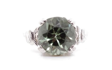 Green gemstone and 9ct white gold cocktail ring marked 9ct, ...