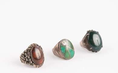 Group of 3 Chunky Silver Gemstone Rings