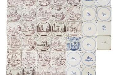 Group of forty-six Dutch Delft blue and manganese tiles...