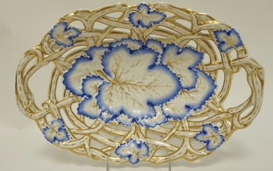 HAND PAINTED PORCELAIN BOWL W/OPEN WORK RIM
