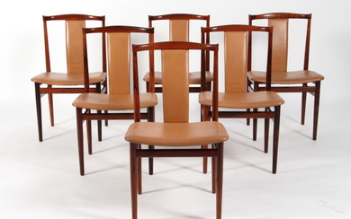 Henning Sørensen. Six chairs, rosewood with leather (6)