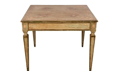 ITALIAN CARVED FRUITWOOD & POLYCHROME TABLE
